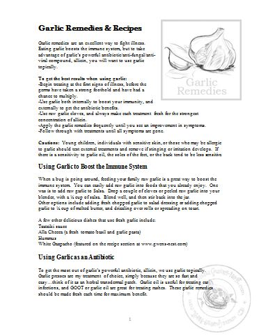 garlic remedies printable from Gwen's Nest- GREAT info!