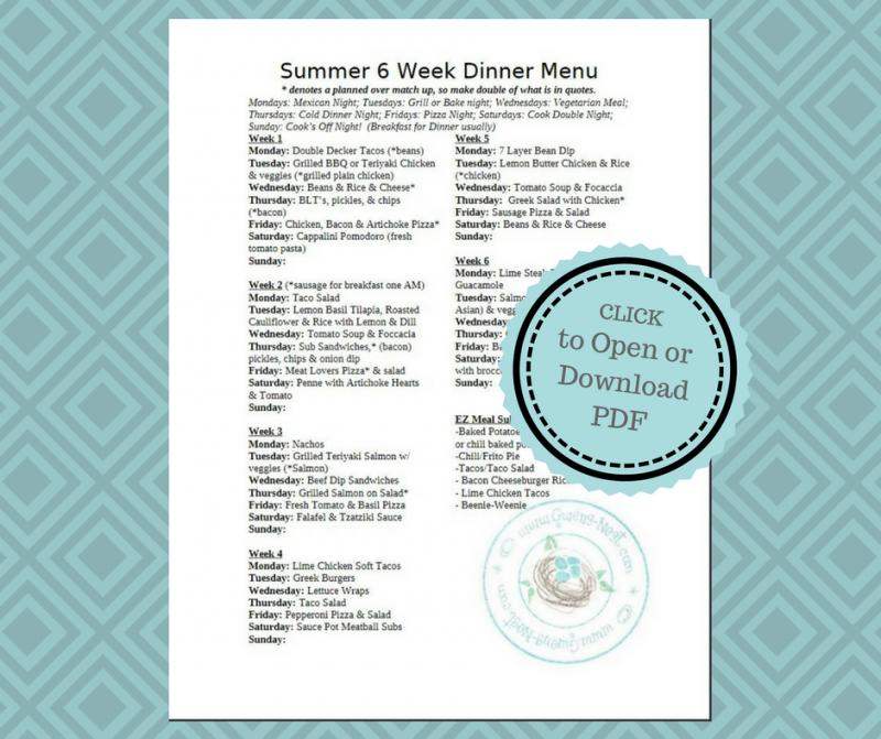 Summer Dinner Menu Update