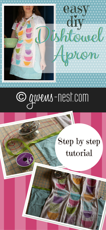 dishtowel free apron pattern pin