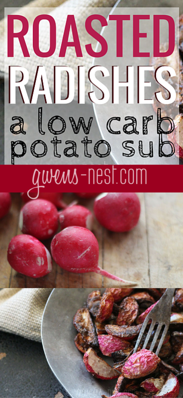 roasted radishes are a great low carb potato sub. Get my easy roasted radish recipe here!