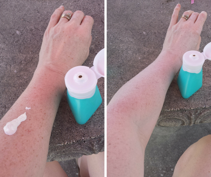 DIY Sunscreen Recipe applying