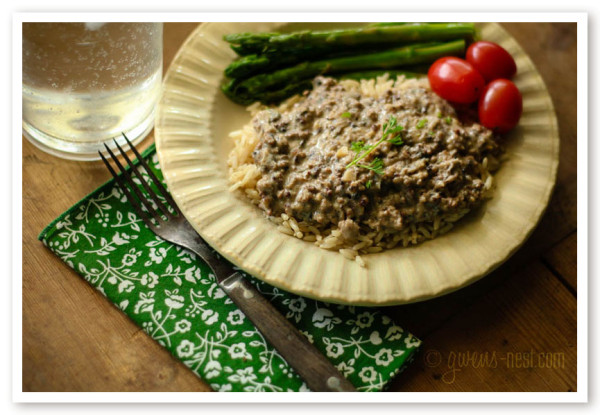 ground beef stroganoff recipe- this is one of my childhood favorites remade to be lower fat.