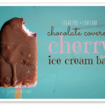 A chocolate cherry ice cream bar that's AMAZING, sugar free, low carb, & THM friendly. SO GOOD!