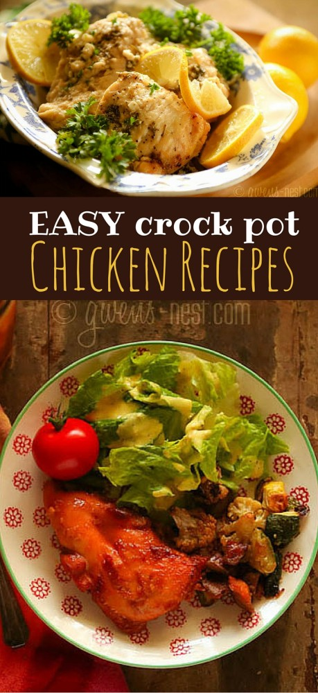 EASY crock pot chicken recipes that you can make ahead and dump into the crock pot when you're ready!