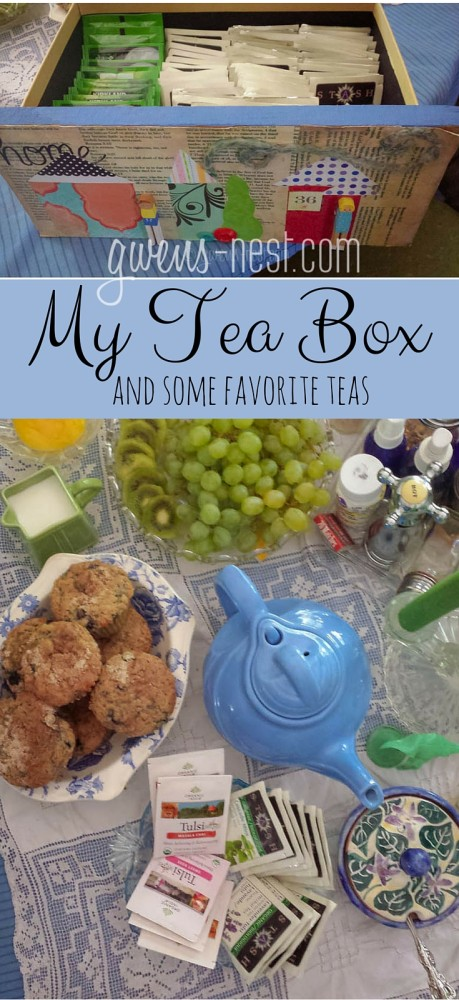 My tea box- how I store and display teas, and my favorite kinds.