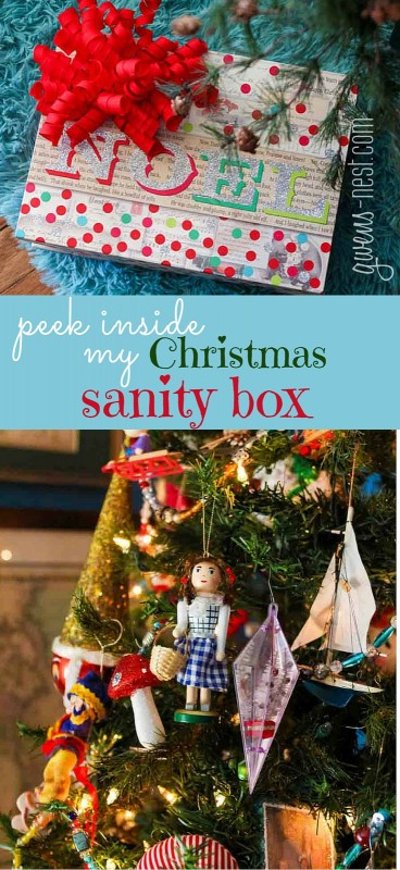 The first box under my tree is my SANITY box- peek inside for my best Christmas organizing tips!