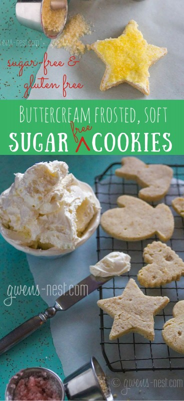 A soft buttercream frosted Christmas sugar cookie recipe that's sugar free, gluten free, and THM friendly. And SO delicious!
