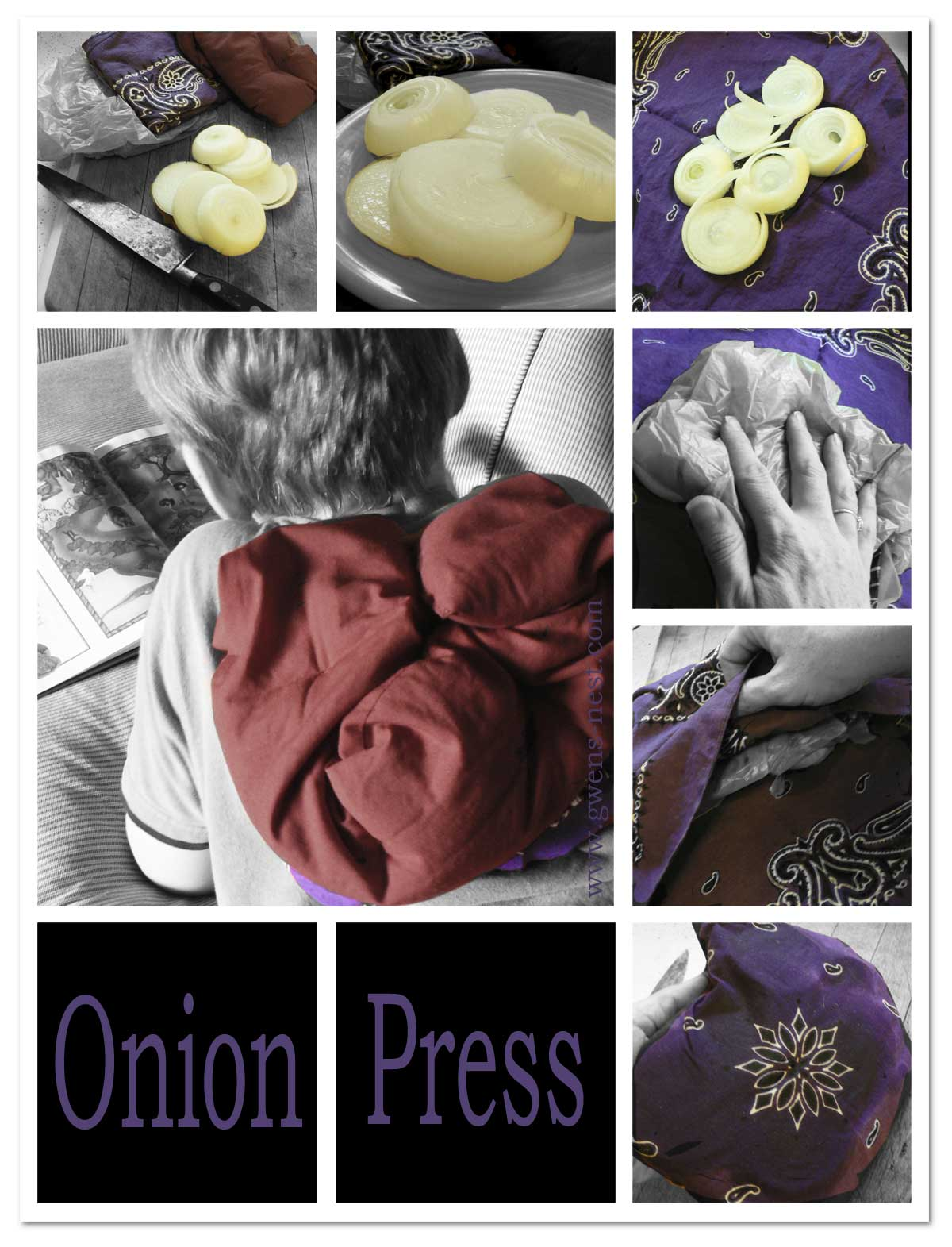 Onion remedies gwens nest lay the pack onion side down onto the persons bare chest or back and cover with a rather warm hot water bottle or warmed rice pack ccuart Gallery